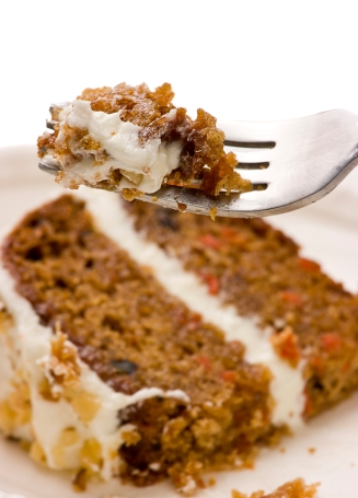Walnut Carrot Cake On A Fork